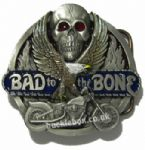Bad to the Bone (skull, bike & eagle) Belt Buckle + display stand